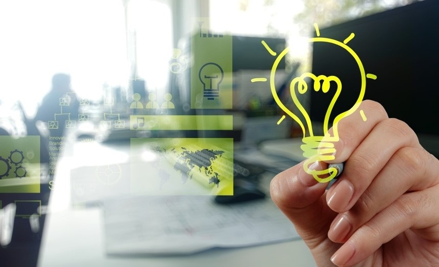 WEB hand drawing creative business strategy with light bulb as concept